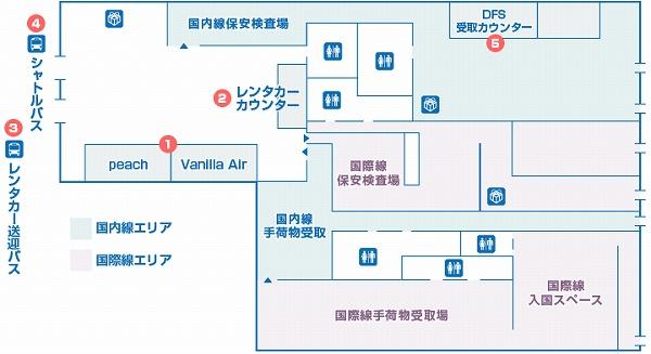 那覇空港LCC専用ターミナルのチェックインカウンターの地図