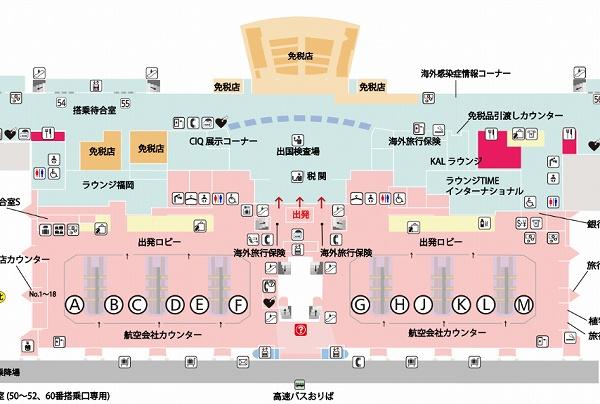 福岡空港LCC国際線のチェックインカウンター地図