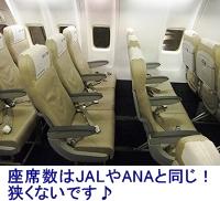 座席数はANAやJALと同じなので狭くないです。